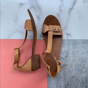 Madewell Leather ZIP Ankle Tan Small Heel Sandals